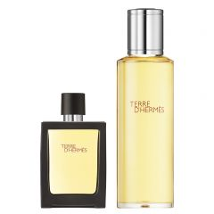 Hermès Terre d'Hermès set (30 ml parfum spray + 125 ml parfum flacon navulling)