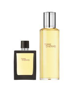 Hermès Terre d'Hermès set (30 ml parfum spray + 125 ml parfum flacon navulling)