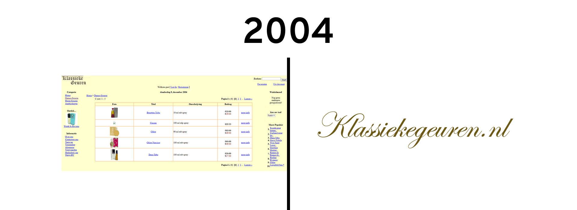 2004 een echte webshop met voornamelijk klassieke parfums